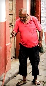 Blind beggar in Uruapan, Michoacan, Mexico.